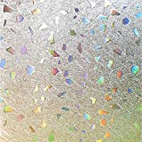 Bloss Frosted Window Film Privacy Window Film Stained Glass Films Decorative Windows Film Window Sticker Glass Film Static Cling No Glue Heat Control Anti UV, 35.4 by78.7 inches