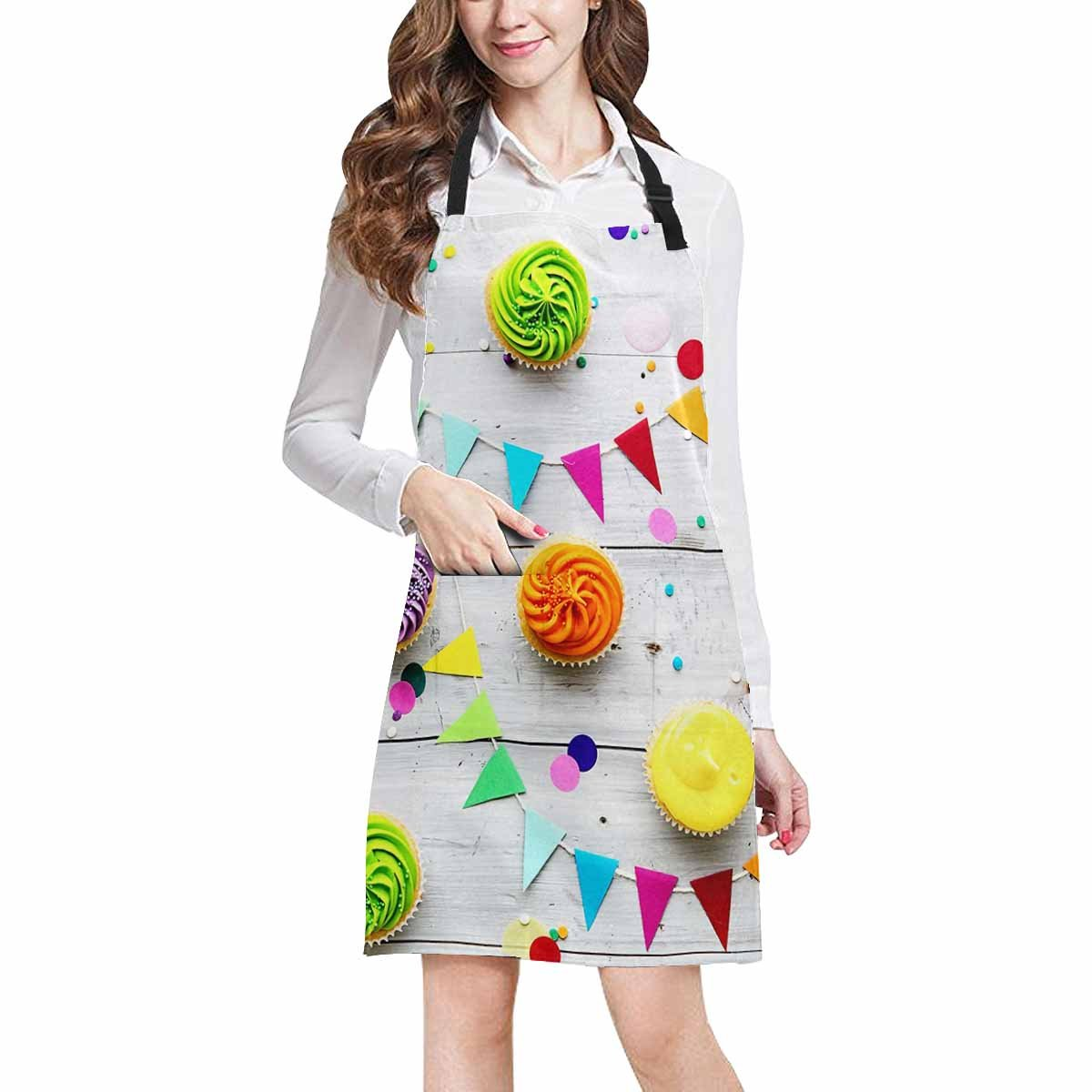 InterestPrint Funny Cupcake Party on Wood Chef Kitchen Apron, Adjustable Strap & Waist Ties, Front Pockets, Perfect for Cooking, Baking, Barbequing, Large Size