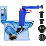 Toilet Plunger, High Pressure Manual Powerful Toilet Cleaner Clogged Drain Buster Four Suckers for Sink Bathtub Basin (Blue)