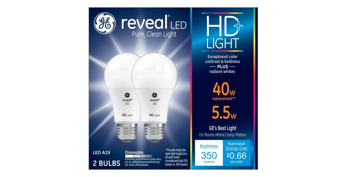 GE Lighting 22591 Bulb Reveal HD Pure Clean Light Dimmable LED A19 5.5 (40-Watt Replacement), 350-Lumen Medium Base, 2-Pack