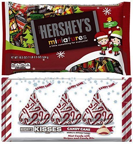 Hershey's Miniatures 11 Oz with Hershey's Kisses Candy Cane 10 Oz