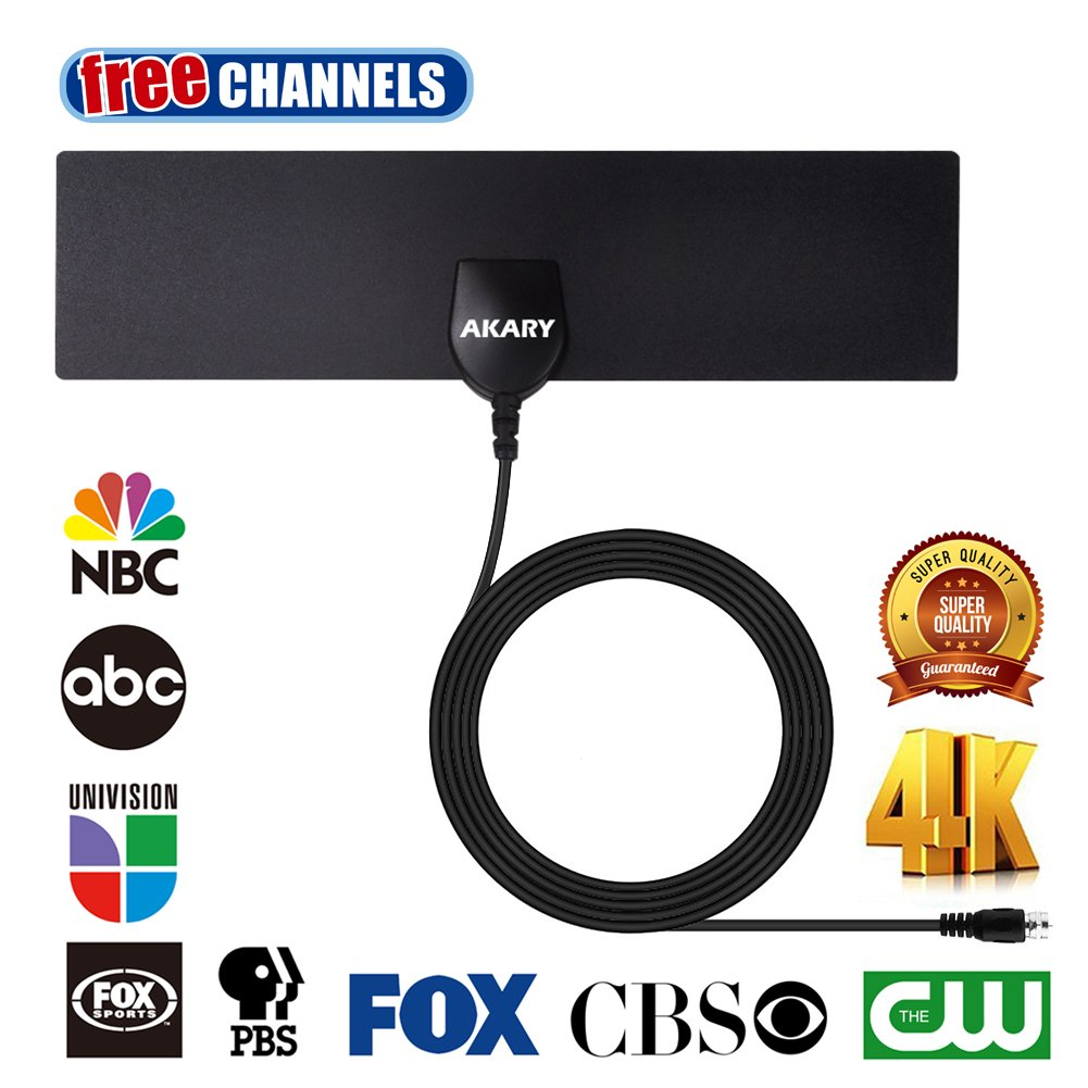 AKARY HDTV Antenna Indoor 35 Miles Range Ultra Thin TV Antenna Upgraded Version