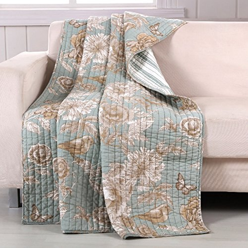 Finely Stitched Quilt Throw Lap Blanket Brushed Microfiber C