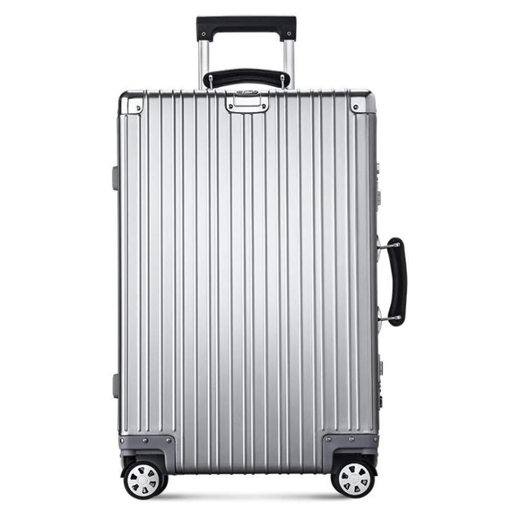 スーツケース荷物トロリーアルミフレーム4ホイールスーパー軽量ハードシェルトラベルキャビンハンド荷物42 * 26 * 63 cm B07SVYGC26 Silver