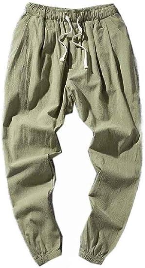 EnergyWD メンズ 薄いコットンリネンチャイニーズスタイルのズボン パラッツォトラウザーズ