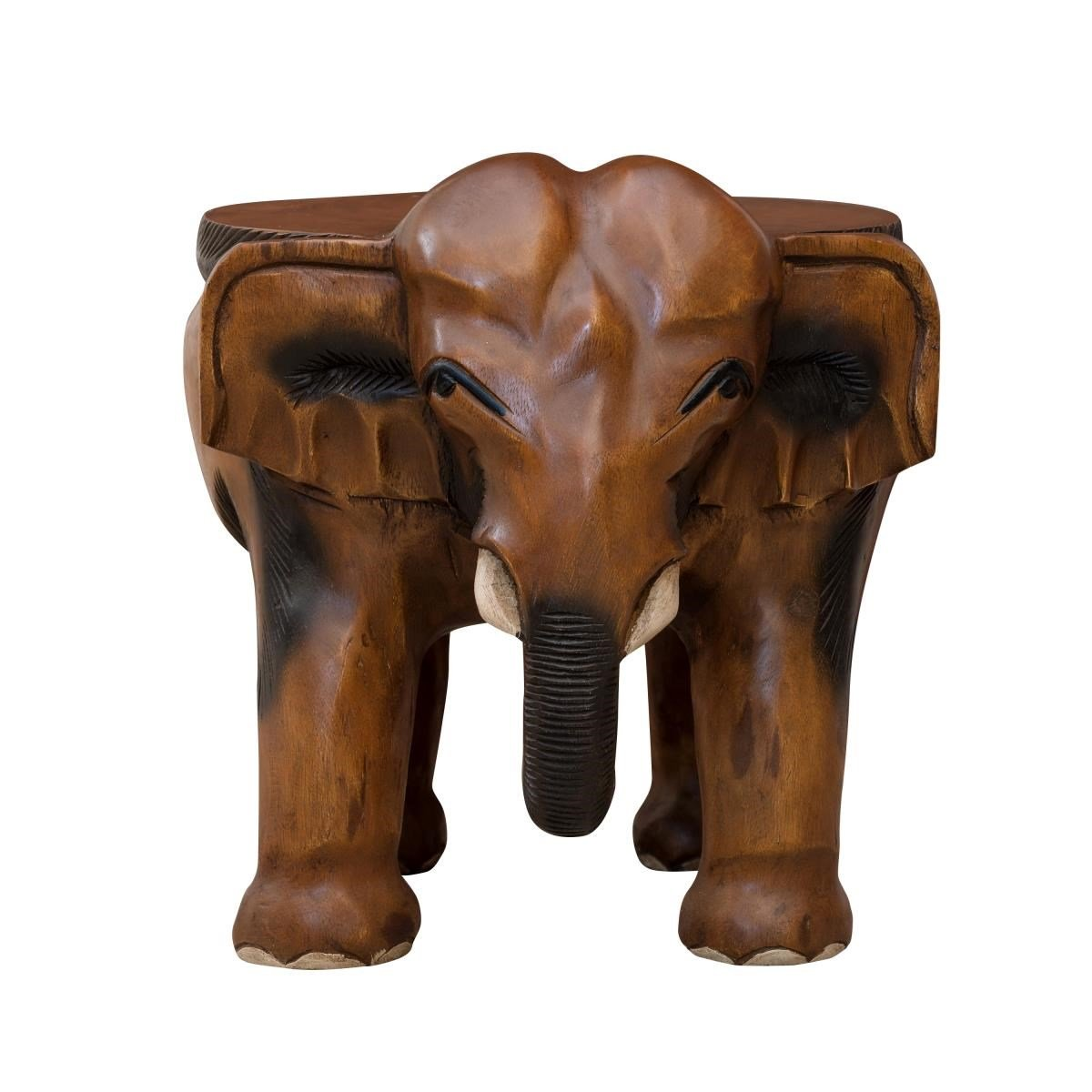 Surin Solid Monkey Pod Wood, Hand-Carved, Elephant Ride Table ...