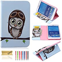 T330 Case, Tab 4 8.0 Case, Dteck(TM) Colorful Beautiful Print PU Leather Stand Flip Protective Case Cover with Card Slots Cash Pocket for Samsung Galaxy Tab 4 8.0 SM-T330 (04 Big Eyes Owl)