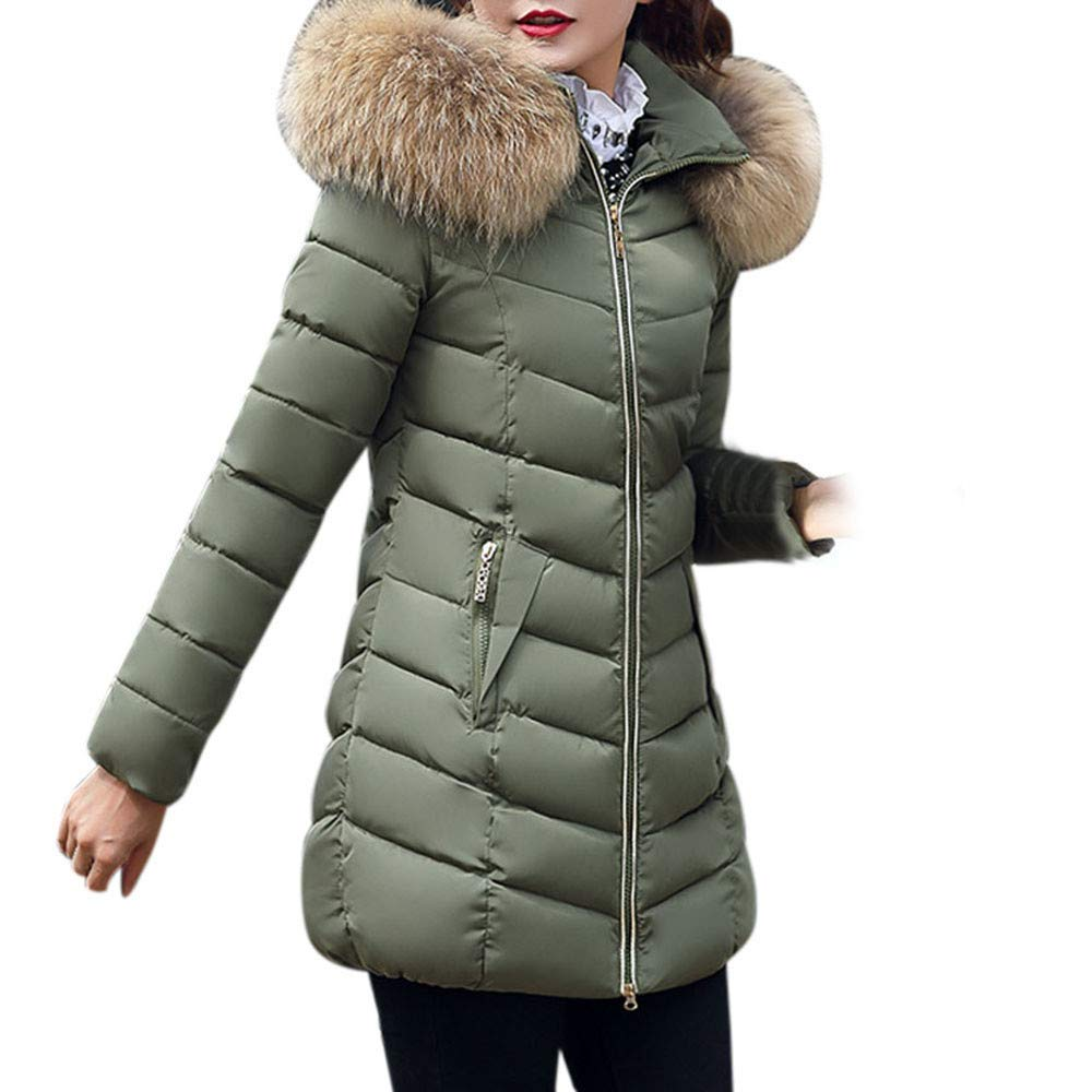 Coupondeal Fashion Winter Women Jacket Long Thick Warm Slim Coat Overcoat(Army Green,XXXL) by Coupondeal