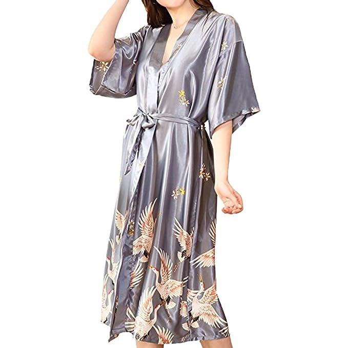 Hibote Mujer Túnicas Albornoces Conjuntos Sexy Pijamas de Satén de Seda Pijamas Pijamas Camisón Ropa de