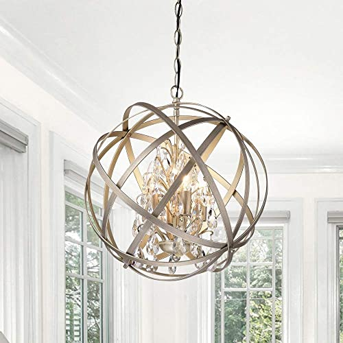The Lighting Store Benita Brushed Champagne Metal and Crystal Orb 4-Light Chandelier