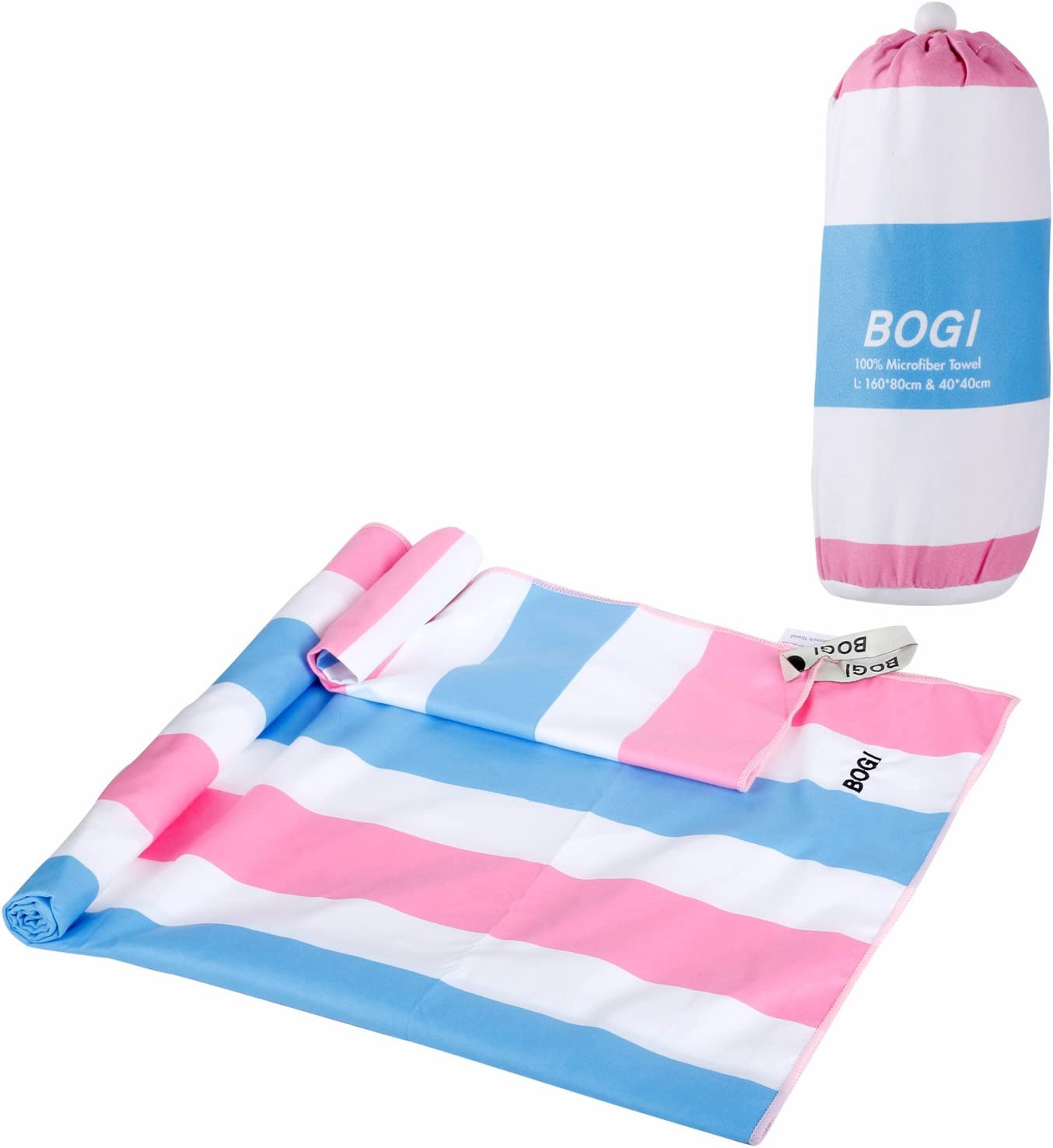 BOGI Microfiber Sports Travel Beach Towel-L 63x31.5XL 79x35.5 with Hand//Face Towel for Travel Bath Beach Swim Camping Gym Yoga,Dry Fast Absorbent Soft Lightweight-Pouch+Carabiner