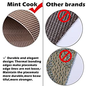 Mint Cook Best Quality Table Placemat , Easy to Clean Woven Vinyl Placemat for Heat Protection ,Set of 4