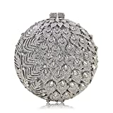 Milisente Women Leaves Diamond Crystal Evening Handbag Oval Clutch Purse (Silver)