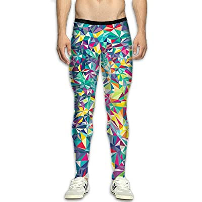 GFGRFDD Compression Pants, Men Running Movement Gym Yoga Bodybuilding Colorful Mix 3D Printing Leggings