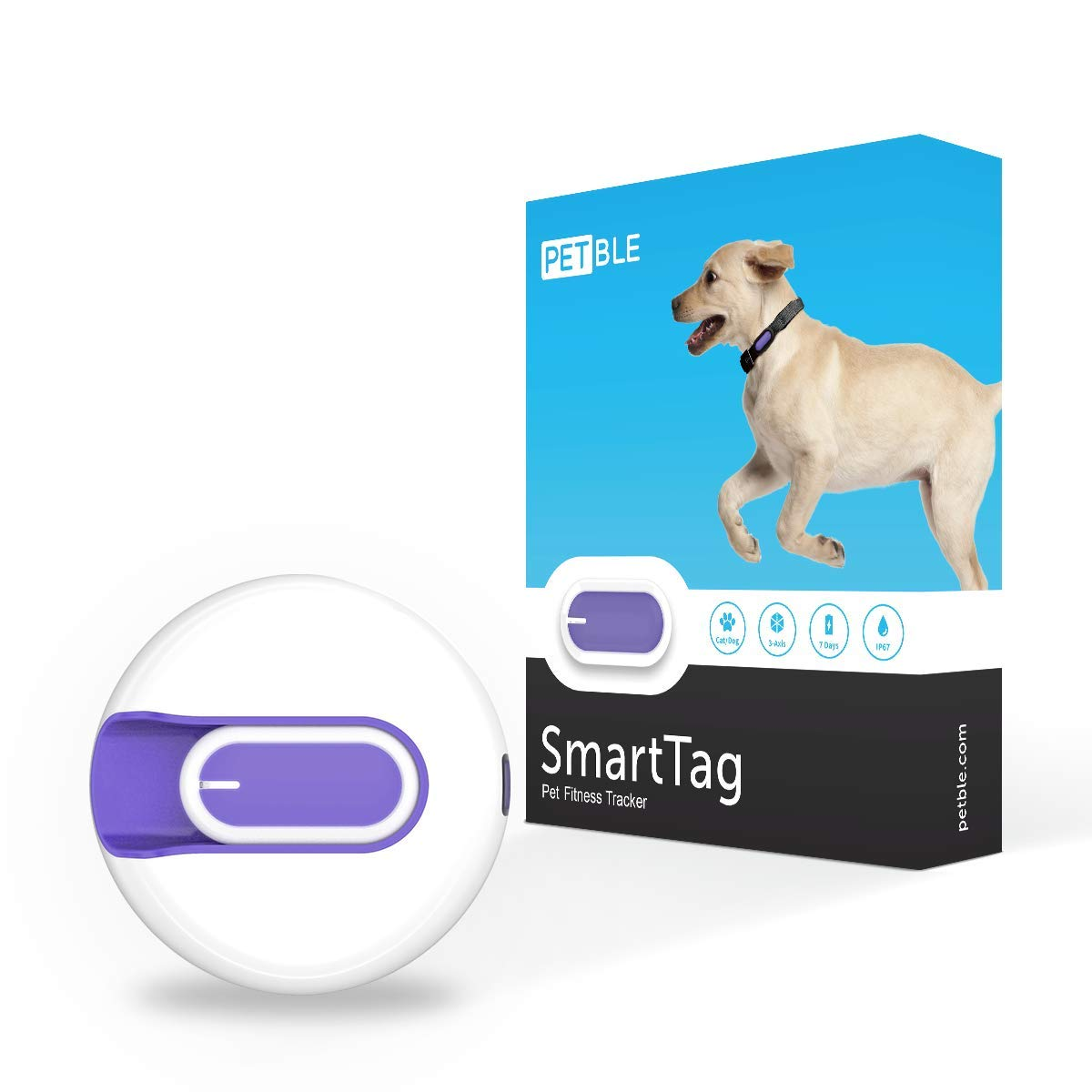PETBLE Dog Cat Pet Smart Tag Tracker - Portable Bluetooth Wireless 4.0 Lightweight, Waterproof, Compatible with Multiple Smart Devices 24/7 Activity Monitor Pet Health Tracker for IOS Android (Yellow) by PETBLE