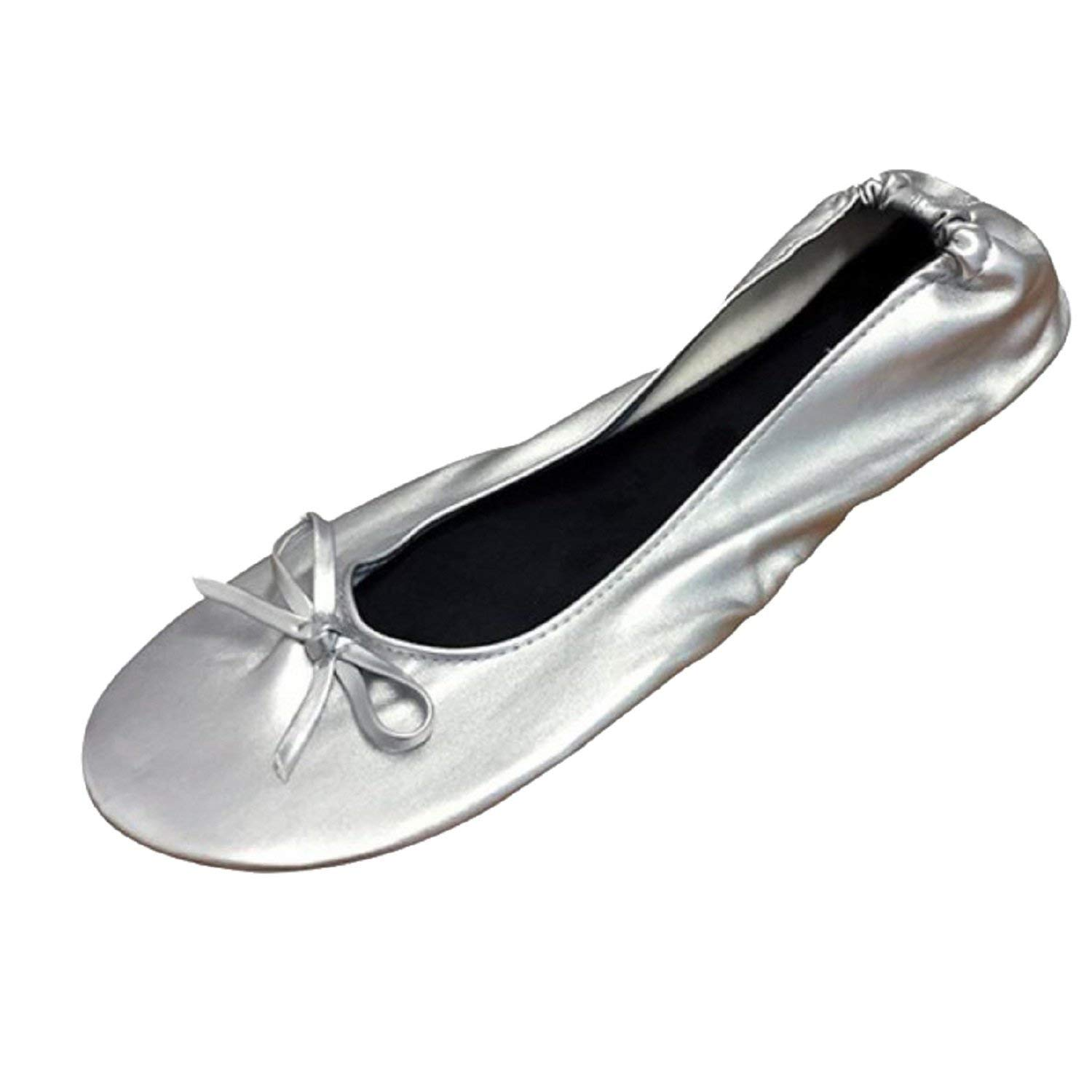 Foldable Flats with Expandable Tote Bag for Carrying High Heels Silver Womens.