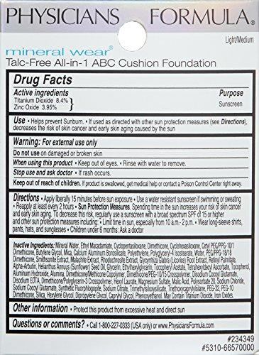 Physicians Formula Mineral Wear Talc-Free All-in-1 ABC Cushion Foundation, Light/Medium, 0.47 Fluid Ounce