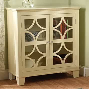 Target Marketing Systems Sydney Accent Storage Cabinet With Trellis Overlay Glass Doors And 2 Shelves