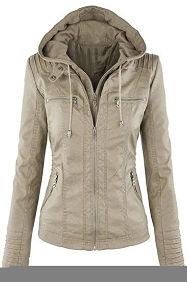 7bcbffe8213d BodiLove Women s Hooded Faux Leather Everyday Bomber Jacket ...