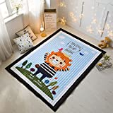 Cartoon Baby Rugs Cotton 100% - Epson Dying 15mm Thick Bedroom Children Room Crawling Rugs Game/Play Rugs Christmas Gifts 57 X 77 Inch King Lion