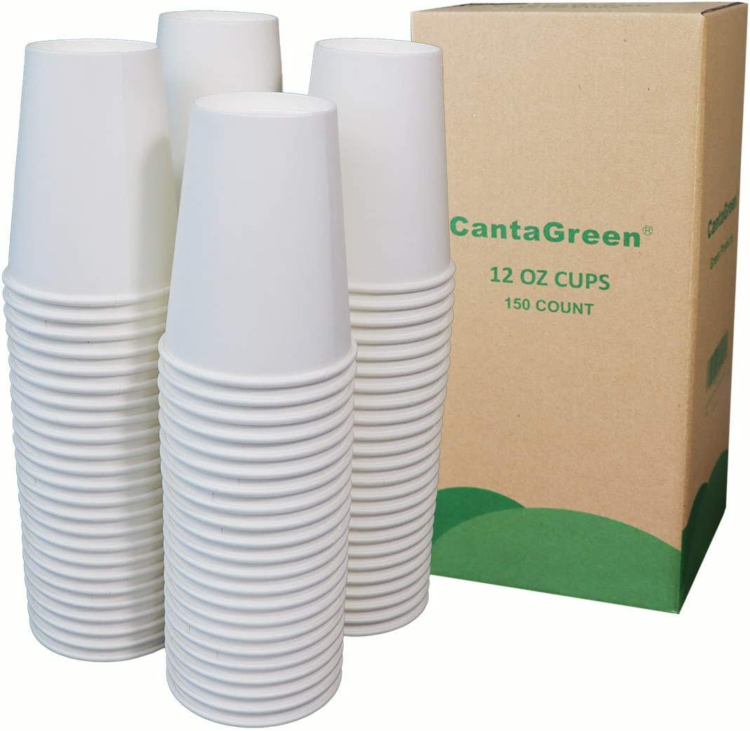 CantaGreen 12 OZ Heavyduty Paper Cups,150 Count White Disposable Cup for Hot and Cold Beverage