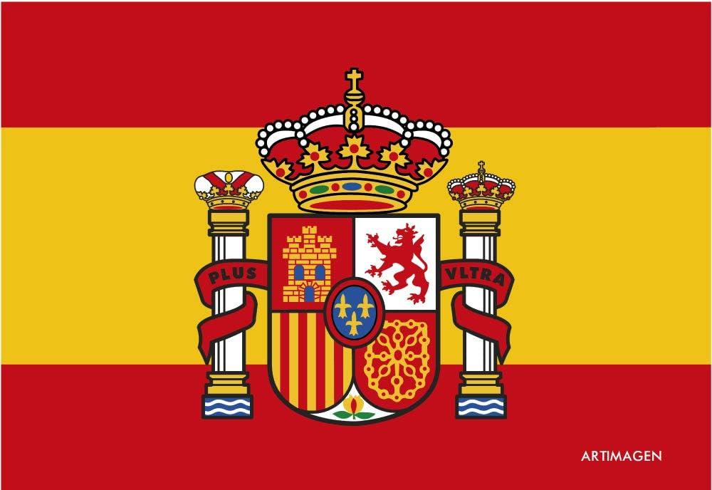 Postal Bandera de España con Escudo 16x11 cm.: Amazon.es: Oficina y papelería