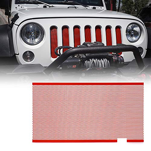 Xprite Red Aluminum Alloy Mesh Insert For Jeep Wrangler JK JKU 2007-2018 Original Front Hood Matte Grill Grille Grid (Insert Grille Stainless Screen)