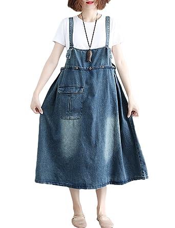 Amazon.com: Innifer Women\'s Plus Size Suspender Strap A Line Denim ...