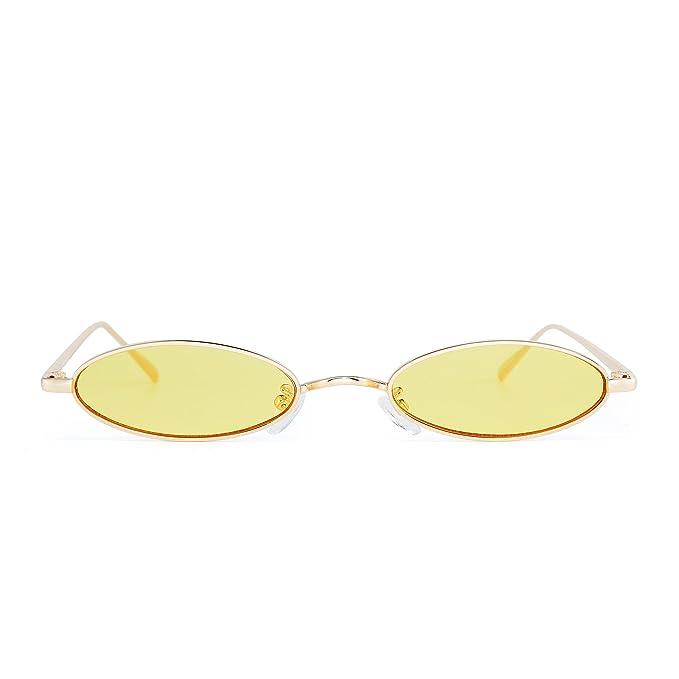 Jim Halo Gafas de Sol Metal Ovaladas Pequeñas Lentes Retro Delgadas Claro Teñido Anteojos Mujer Hombre