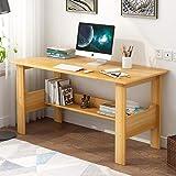 简约电脑桌台式桌现代家用书桌学习用桌经济型卧室办公桌带书架写字台 (80cm浅胡桃色)