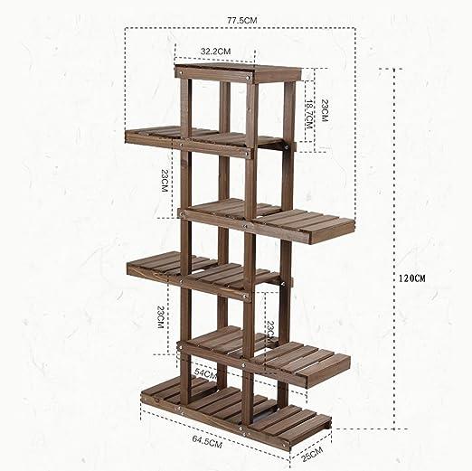 Meiling registro multicapa Simple madera maciza protección de medio ambiente estante de flores estantería, madera Escalera de aterrizaje radier verde marco de madera (balcón exterior: Amazon.es: Hogar