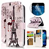 Samsung Galaxy S4 Case, Luxury Dual Wallet Case [9 Card Holder] Premium PU Leather Multifunctional Embossing Pattern Book Style Magnetic Flip Stand Feature Cover Slim Protective Money Pocket Bumper - Effie Tower