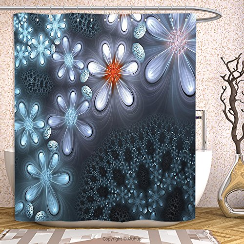 AmaUncle 3D Fractal Decor Vibrant Flower Pattern Graphic Art Featured Futuristic Petals With Free 3D Glasses Blue Purple,60W X 72L Inch