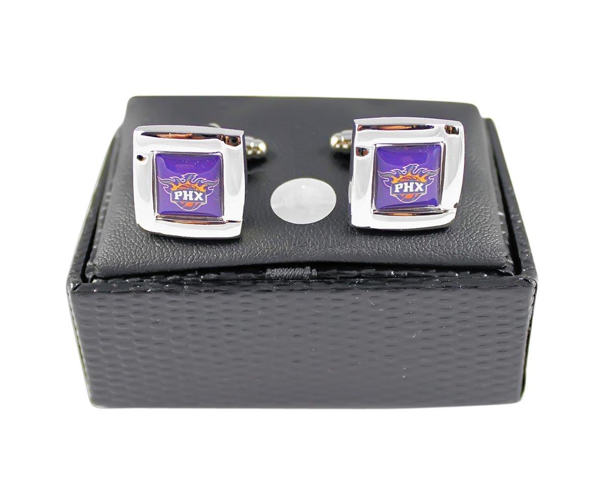 Phoenix Suns NBA Sports Fan Team Logo Square Engraved Design Mens Shirt Cufflinks Gift Box Set