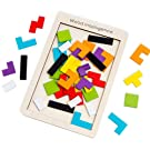 M-Aimee Wooden Tetris Puzzle Tangram Jigsaw Brain Teasers Toy Building Blocks Game Colorful Wood Puzzles Box Intelligence Educational Gift for Kids 40 Pcs