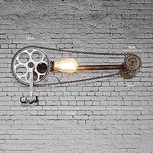 Yxx max Bedroom Wall lamp Loft Vintage Water Pipe Wall Lamp,Restaurant Bar Cafe Pub Bedroom Livng Room Stair Villa E27 Edison Gear Chain Wall Sconce Bra