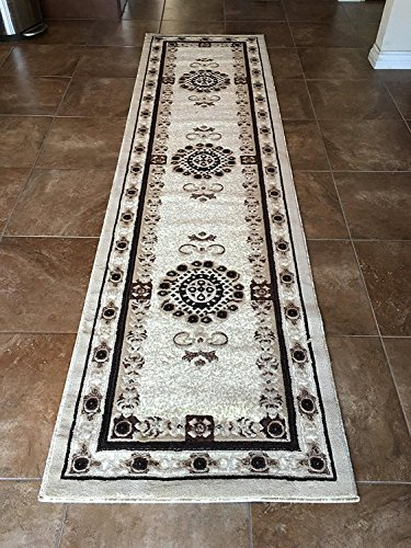 Americana Traditional Long Persian Oriental Runner Area Rug Ivory 121 (32 Inch X19 Feet 8 Inch) Antique Persian Runner