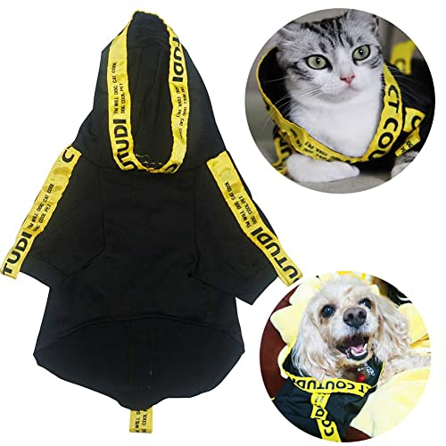 CT COUTUDI Yellow Stripe Black Pet Cat Dog Hoodies Clothes for Small Dogs Shirts Puppy Casual Pullover Outfits
