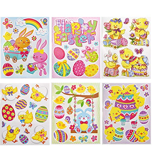 Gift Boutique 12 Pack Happy Easter Window Clings Party Decorations Accessories Includes Spring Eggs Chicks Bunnies Flowers Designs