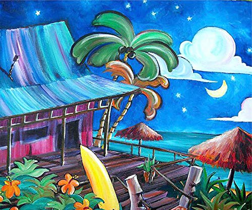 Diy 5D Diamond Painting By Number Kit, Full Drill Tropical Palm Tree House?Embroidery Cross Stitch Arts Craft Canvas Wall Decor - Tree Diamond Tropical Palm
