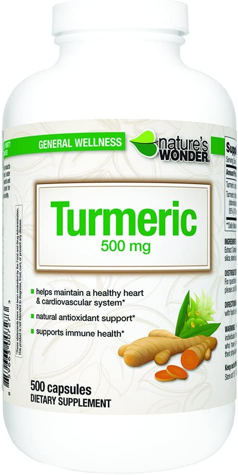 Nature's Wonder Turmeric 500mg Capsules 500 Count
