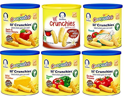 Gerber Graduates Lil' Crunchies, Variety Pack, 1.48-Ounce Canisters (Pack of 6) (Garden Tomato Crunchies)