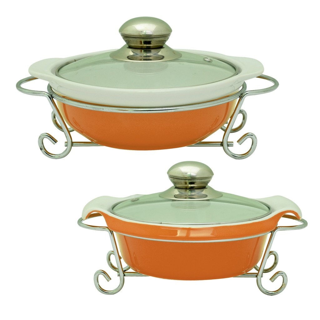 MM Gusto Ceramic Casserole Handi Set of 2  Serving Bowl  with Free Glass Lid   Chrome Finished Metal Stand  Orange Color/Capacity   1000 ML + 1000 ML