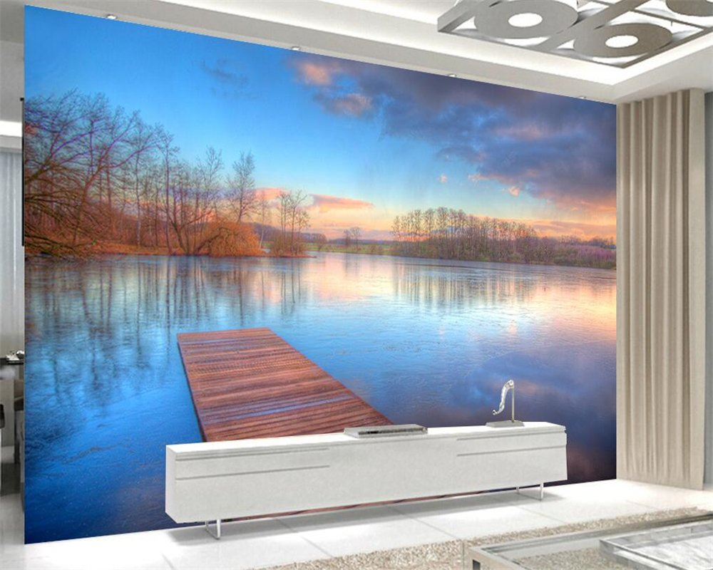 BZDHWWH Lakeside Scenery Modern Nature Landscape 3D Living Room Bedroom Background Wall Wallpaper Large Photo Mural Wallpaper,200Cm (H) X 300Cm (W): ...