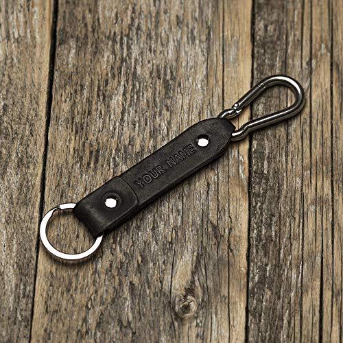 Negro Llavero de cuero con gancho de mosquetón, anilla ...
