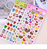 ONOR-Tech 4 Sheets Cute Lovely Cartoon 3D DIY Decorative Puffy Adhesive Sticker Tape / Kids Craft Scrapbooking Sticker Set for Diary, Album