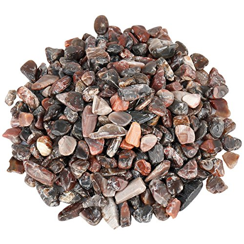 SUNYIK Petrified Wood Stone Tumbled Chips Crystal Crushed Pieces Irregular Shaped 1pound(about 460 gram) (Shaped Bowls Tree)