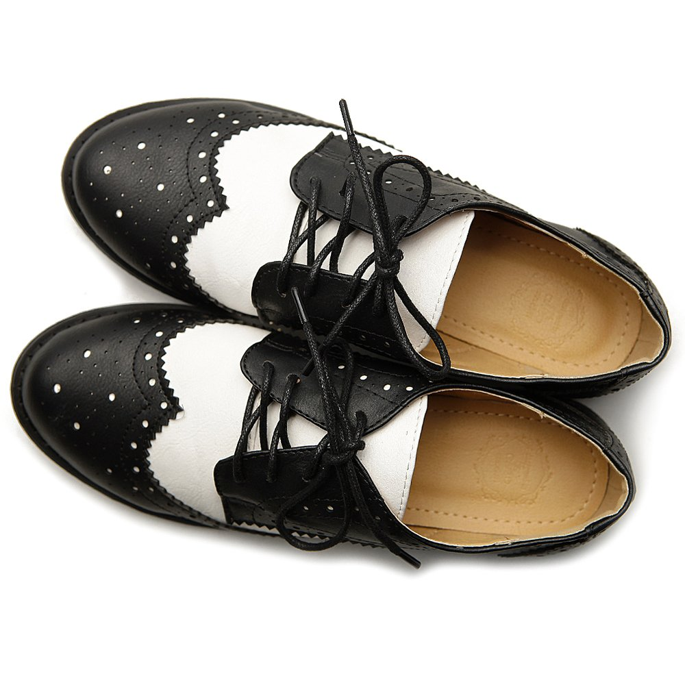 1950s Shoe Styles: Heels, Flats, Sandals, Saddles Shoes Ollio Womens Flat Shoe Wingtip Lace up Two Tone Oxford $27.99 AT vintagedancer.com
