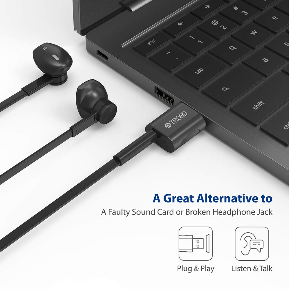 TROND External USB Audio Adapter Sound Card, with One 3.5mm Aux TRRS Jack for Integrated Audio Out & Microphone in by TROND (Image #2)