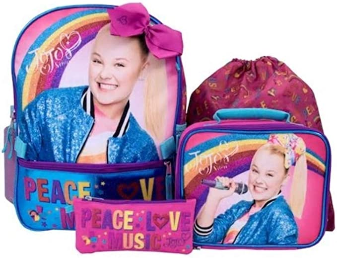"""Jojo Siwa 4 pcs SET 16/"""" inches Backpack PINK Cute Perfect for Gift New Licensed"""